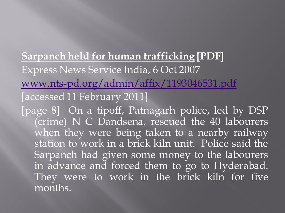 Sarpanch held for human trafficking [PDF]